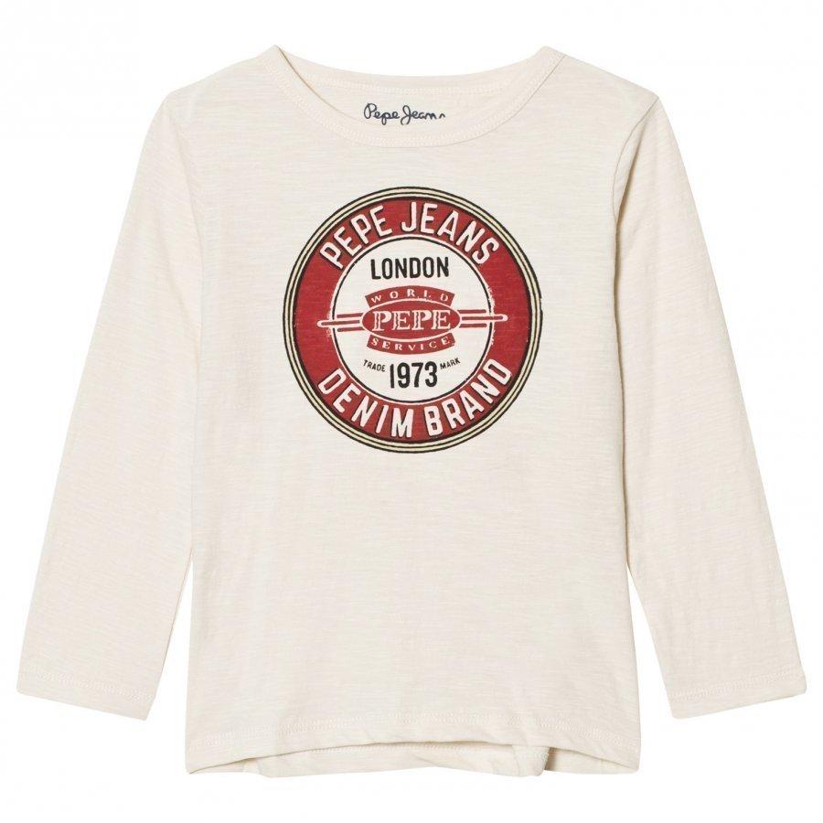 Pepe Jeans Cream Logo Long Sleeve Tee Pitkähihainen T-Paita