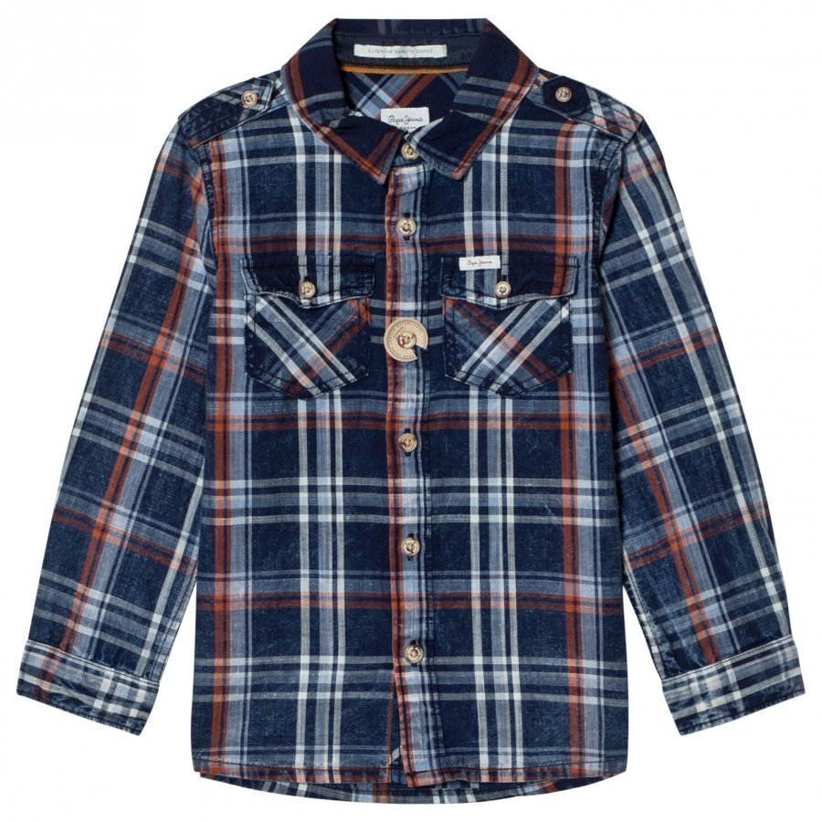 Pepe Jeans Daniel Check Shirt Blue/Orange Kauluspaita