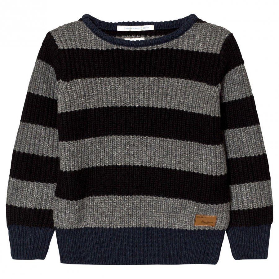 Pepe Jeans Grey/Charcoal Stripe Chunky Knit Sweater Paita