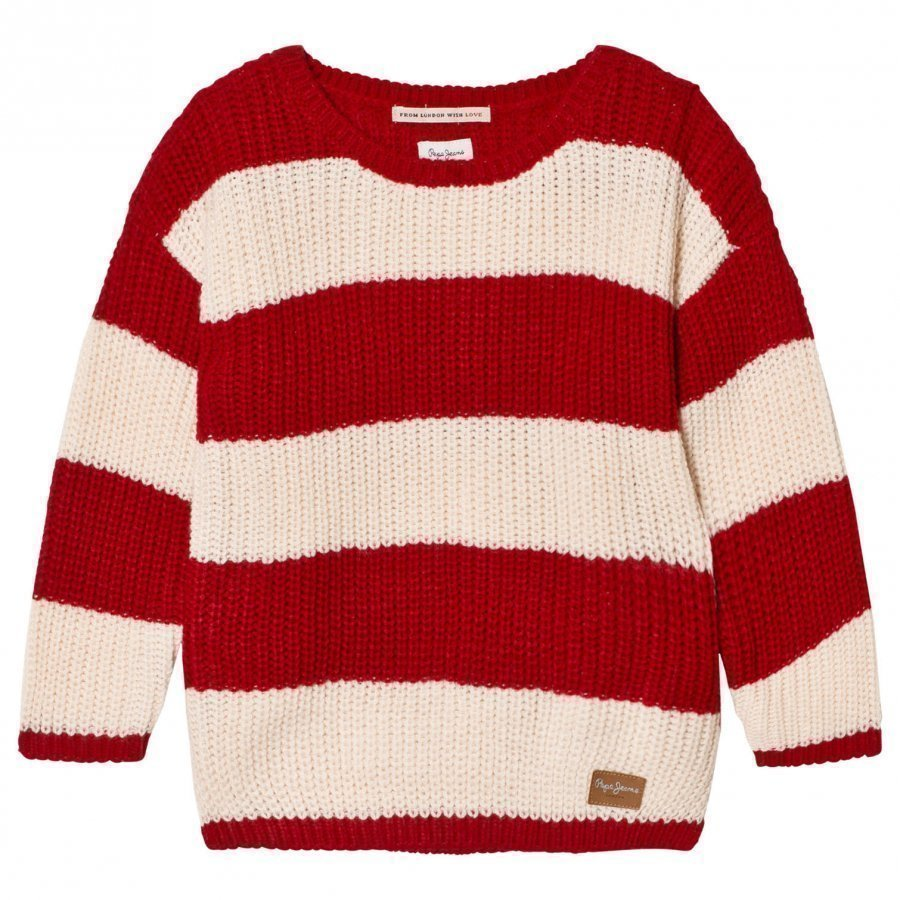 Pepe Jeans Red And Cream Stripe Sweater Paita
