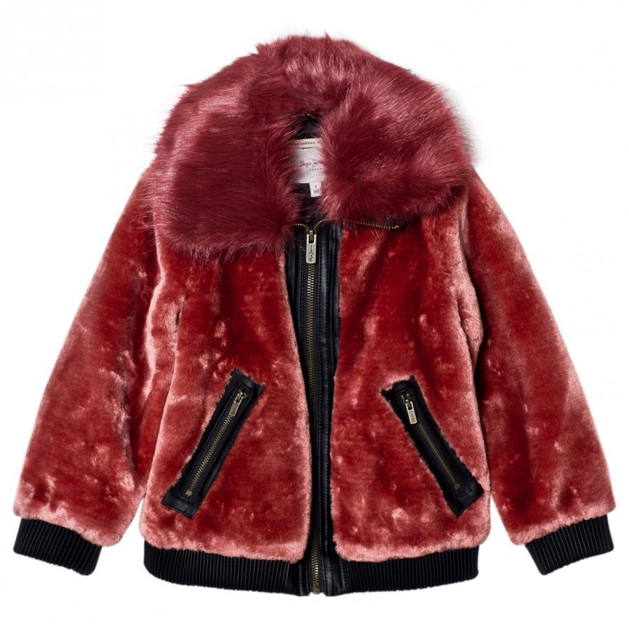 Pepe Jeans Red Faux Fur Aviator Jacket Turkis