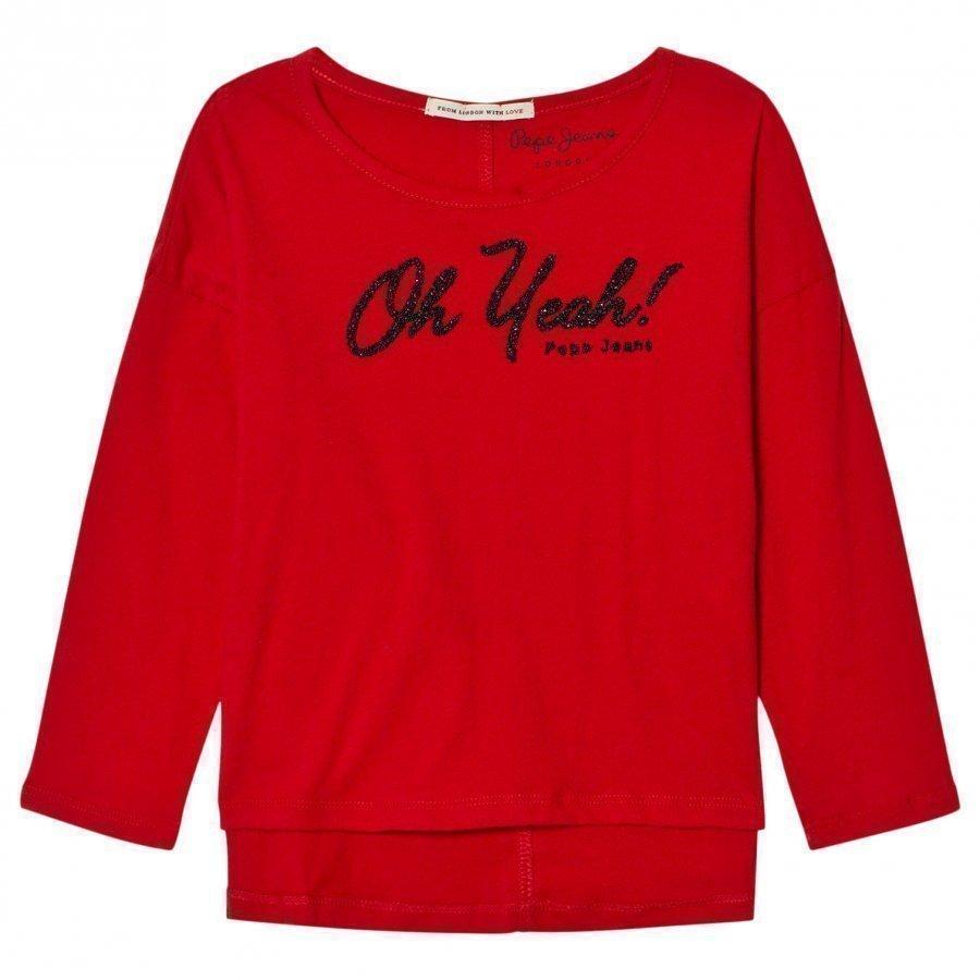 Pepe Jeans Red Oh Yeah Beaded Tee Pitkähihainen T-Paita