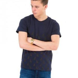 Perrelli Street Wear Walton Ss Tee T-Paita Sininen