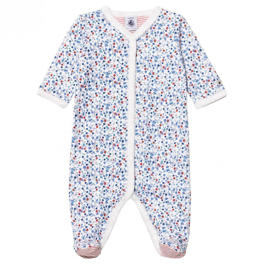 Petit Bateau Blue And Red Floral Footed Baby Body
