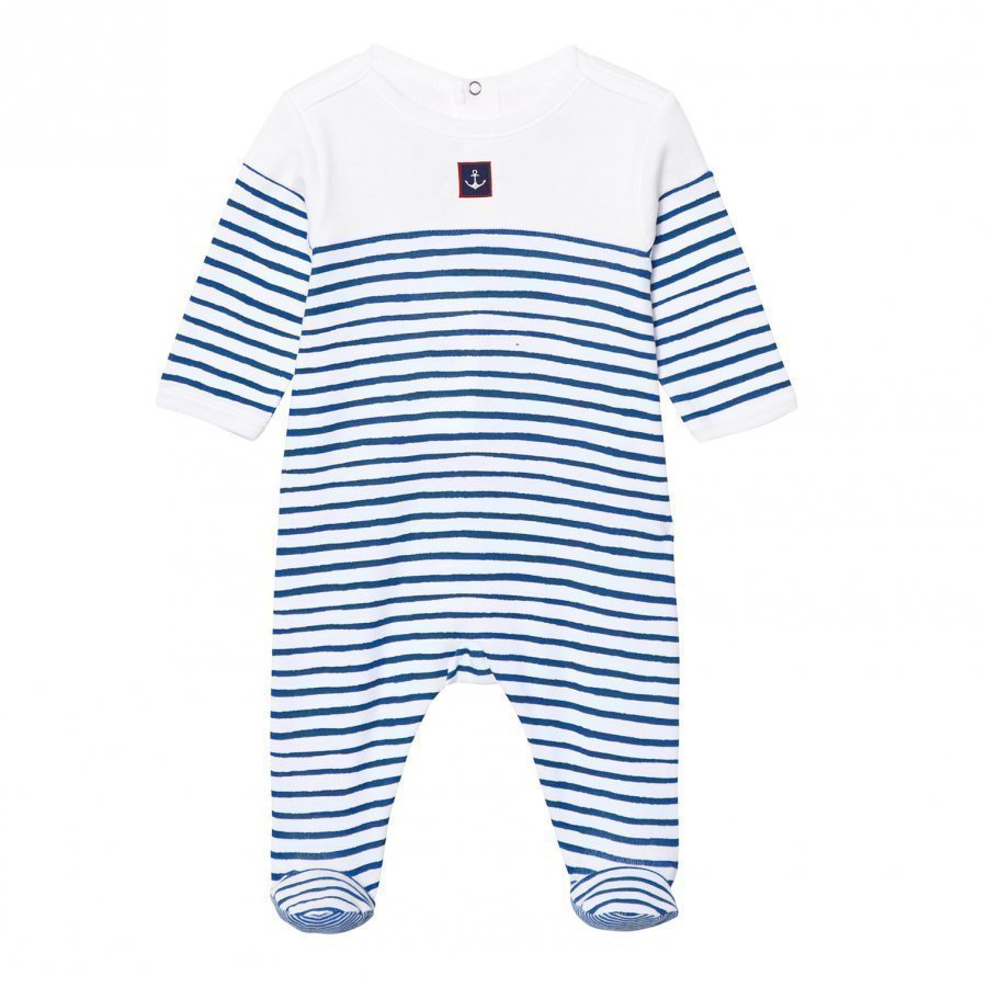Petit Bateau Blue And White Stripe Footed Baby Body With Anchor Patch Body
