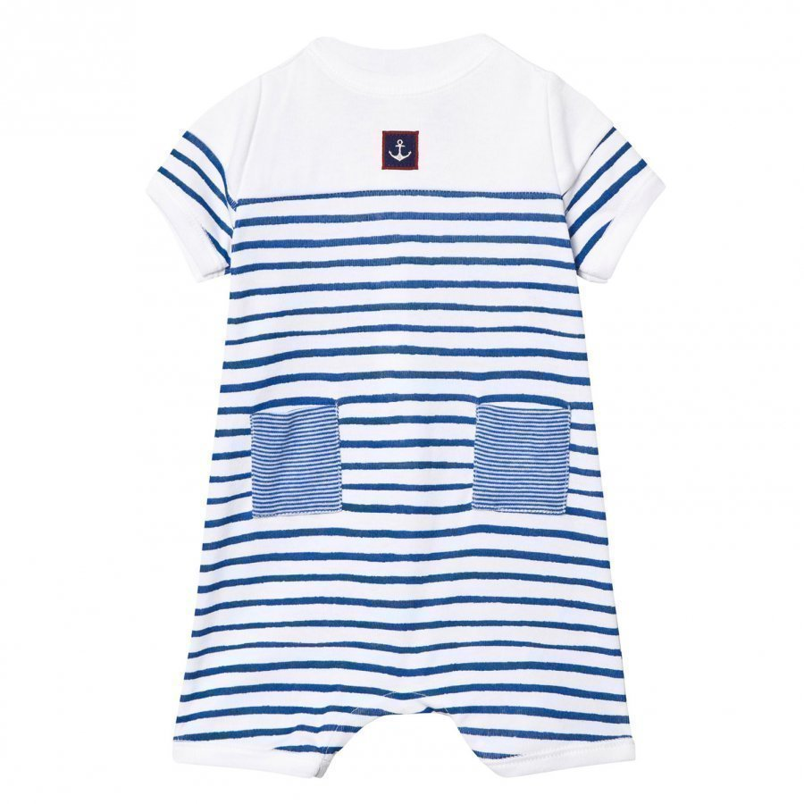 Petit Bateau Blue And White Stripe Romper With Anchor Patch Romper Puku