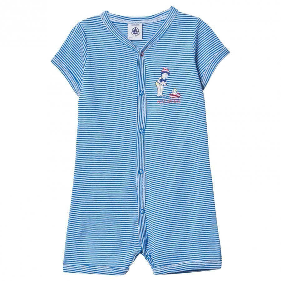 Petit Bateau Blue And White Stripe Romper With Swimming Print Romper Puku