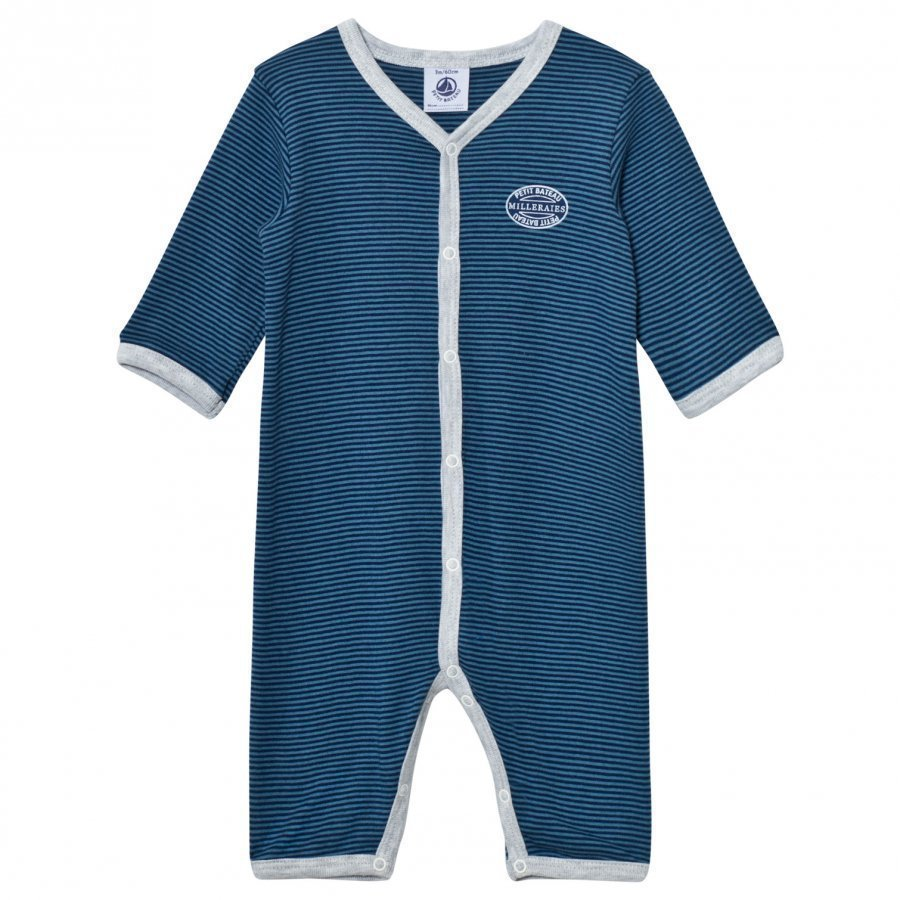 Petit Bateau Blue Striped One-Piece Body