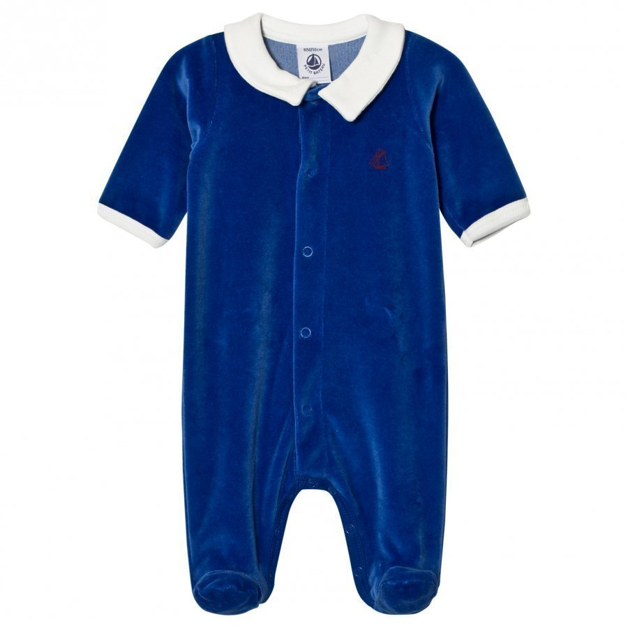 Petit Bateau Blue Velour Footed Baby Body