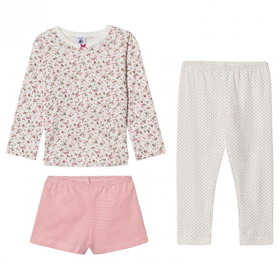 Petit Bateau Cream Floral Pyjama Set Yöpuku