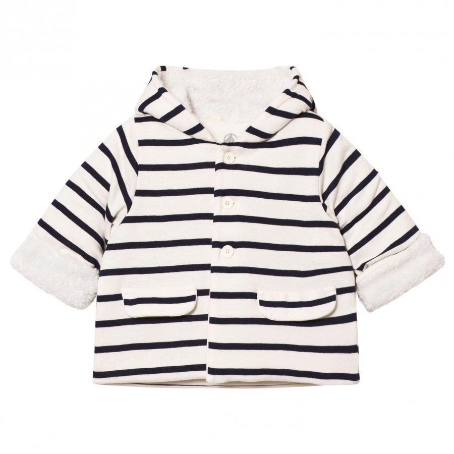 Petit Bateau Cream Marine Stripe Jacket Toppatakki