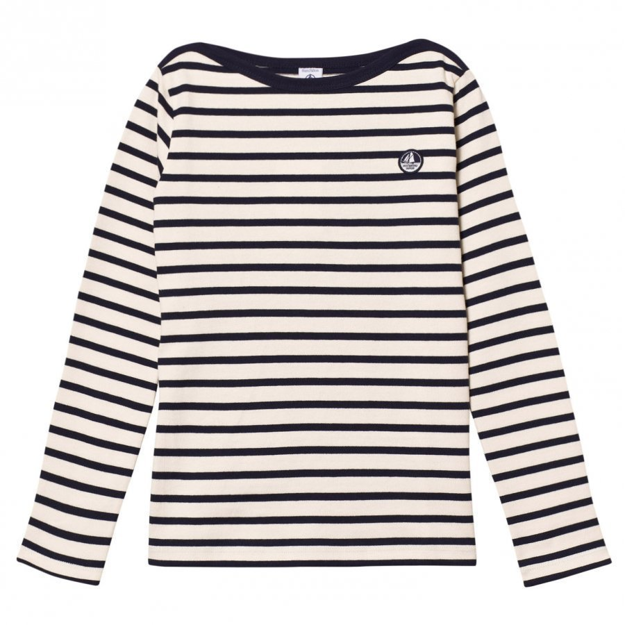 Petit Bateau Cream Marine Striped Sweater Neuletakki