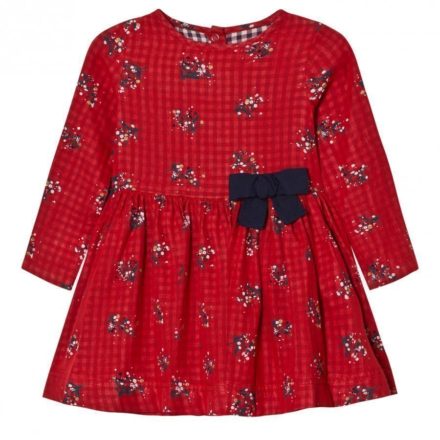 Petit Bateau Dress Flowers Red Juhlamekko