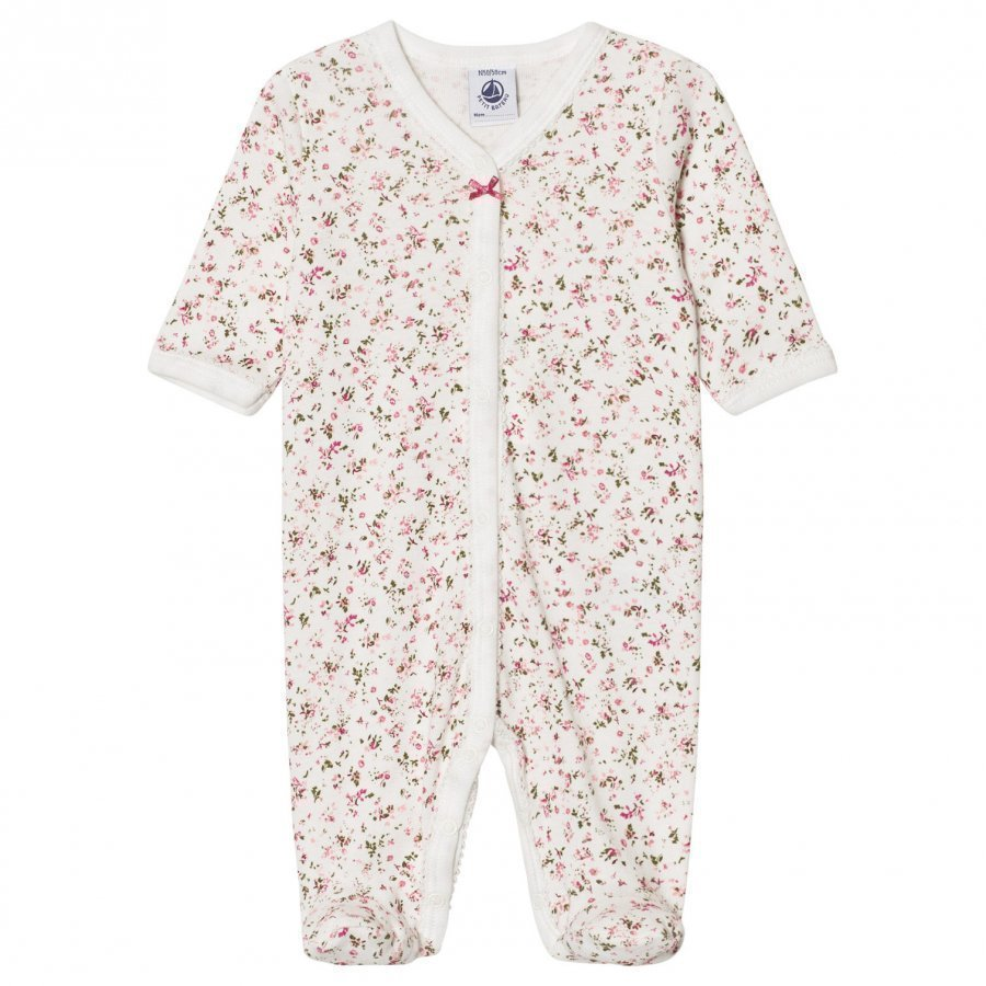 Petit Bateau Floral Print Footed Baby Body