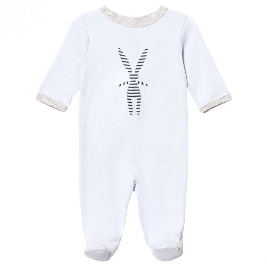 Petit Bateau Footed Baby Body Light Blue Body