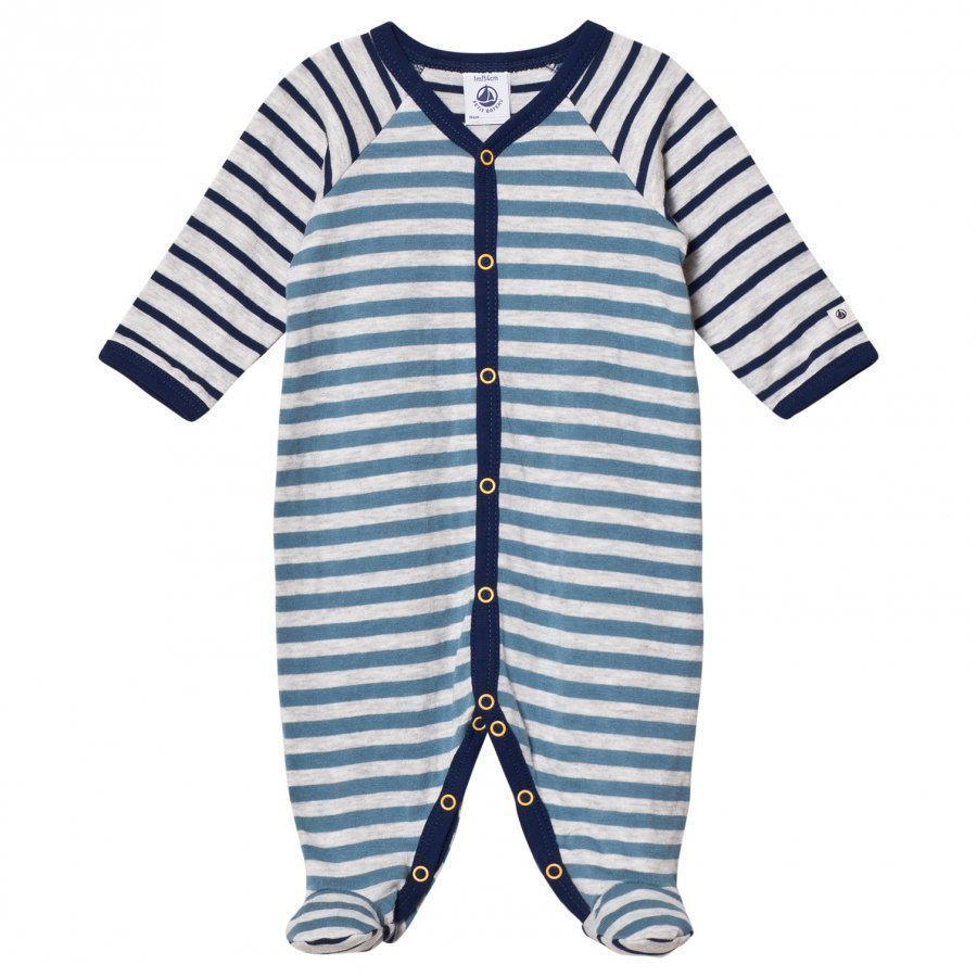 Petit Bateau Grey Blue Striped Footed Baby Body