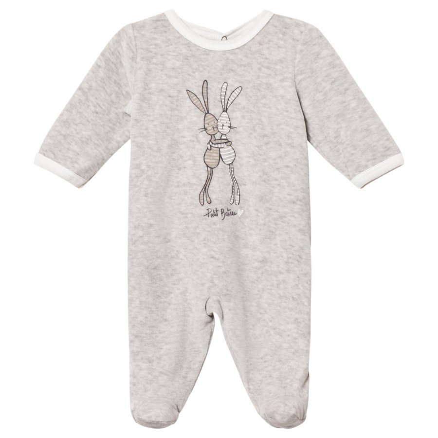 Petit Bateau Grey Rabbit Footed Baby Body