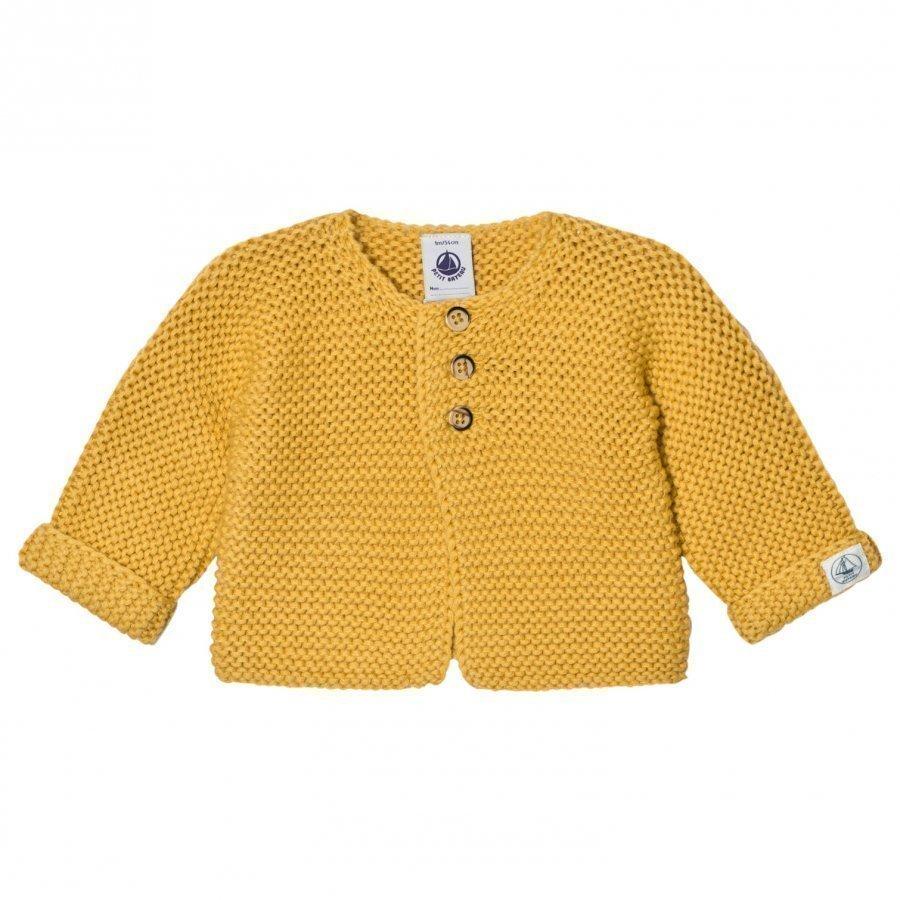 Petit Bateau Knit Cardigan Ocre Yellow Neuletakki