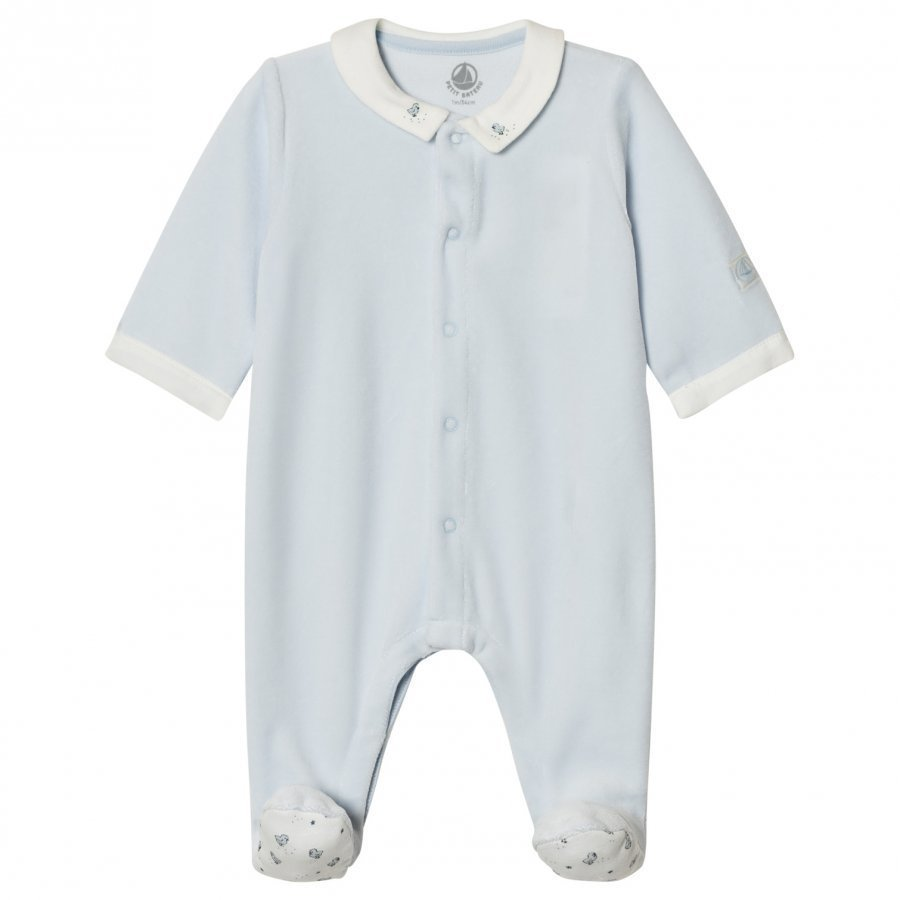 Petit Bateau Light Blue Velour Footed Baby Body