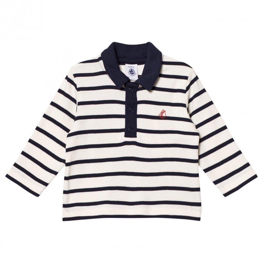 Petit Bateau Long Sleeve Polo Tee Marine Cream Pikeepaita