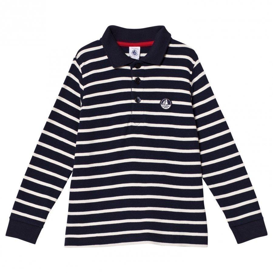 Petit Bateau Long Sleeve Vintage Polo Tee Marine Cream Stripe Pikeepaita