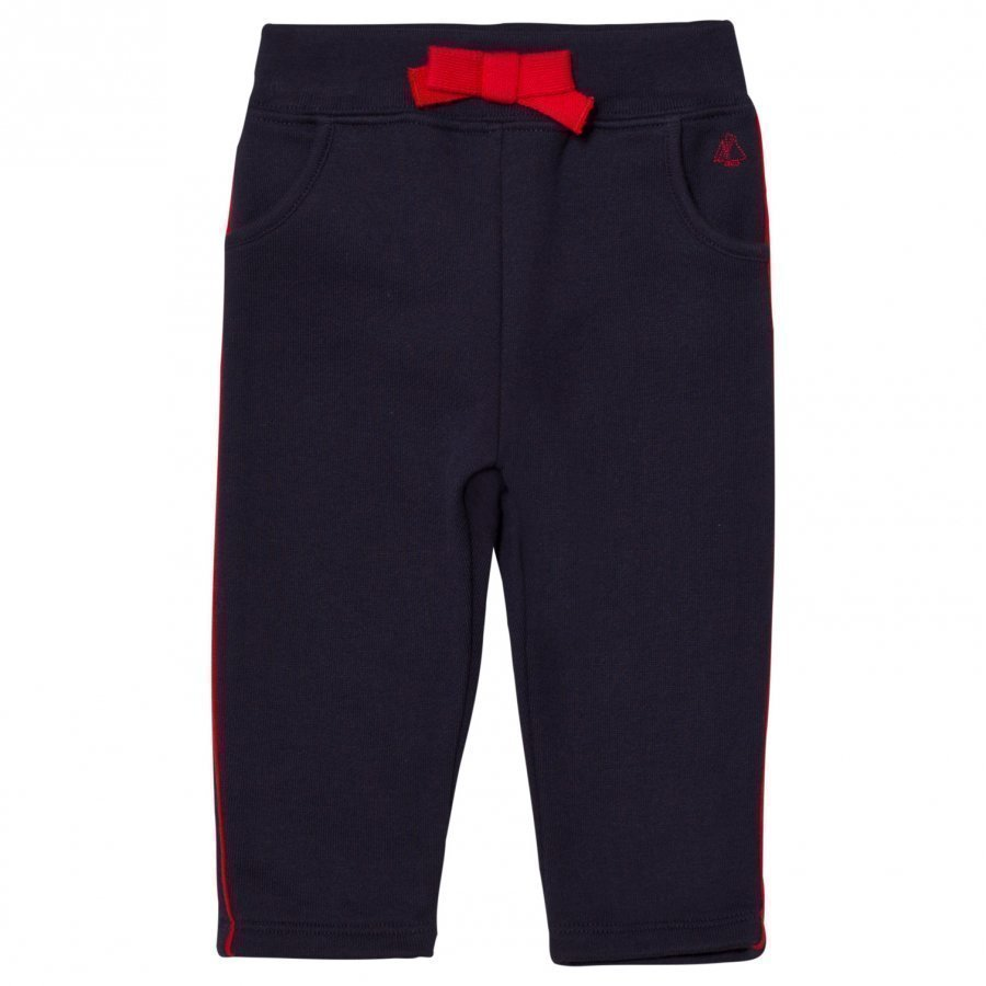 Petit Bateau Marine Blue Sweatpants With Red Piping Housut