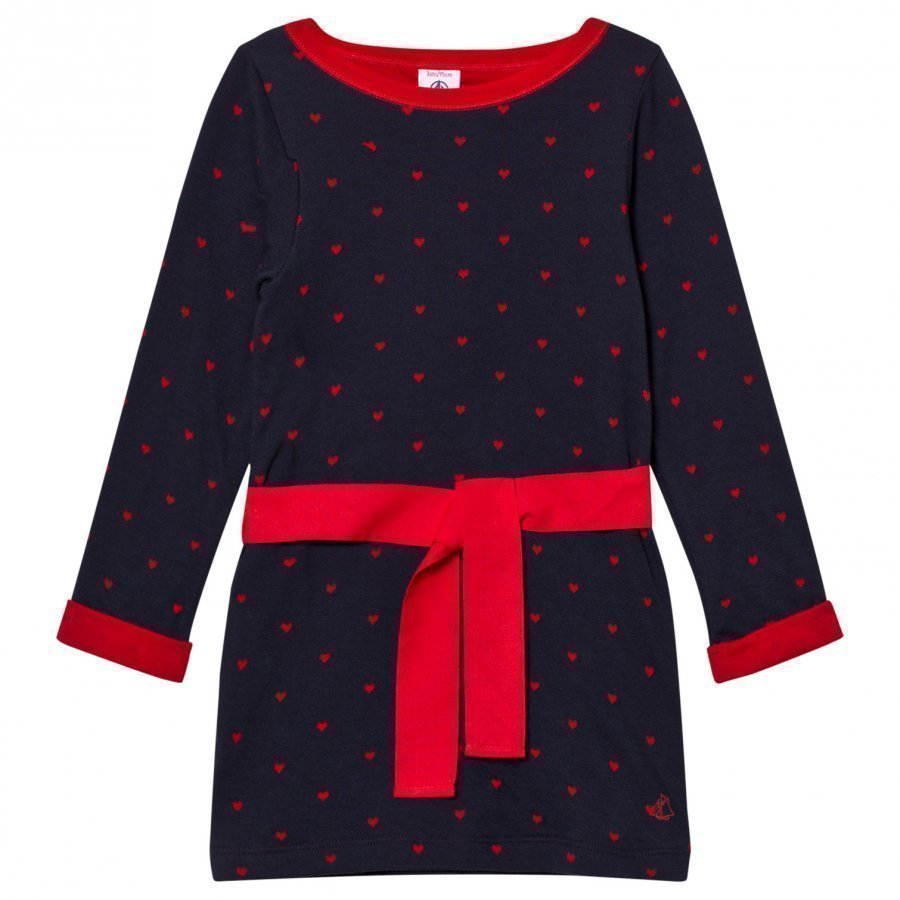 Petit Bateau Marine Dress Red Hearts Mekko