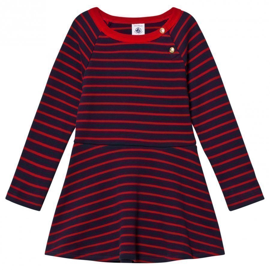 Petit Bateau Marine Red Striped Dress Mekko
