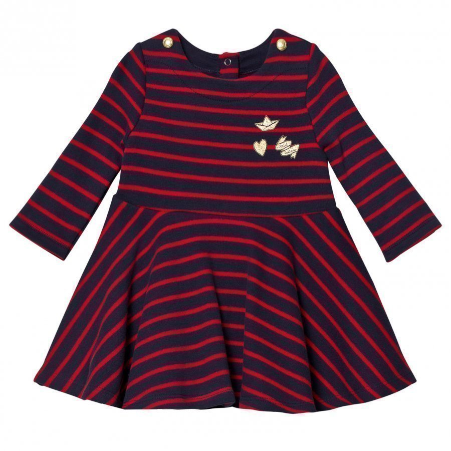 Petit Bateau Marine Red Striped Jersey Dress Mekko
