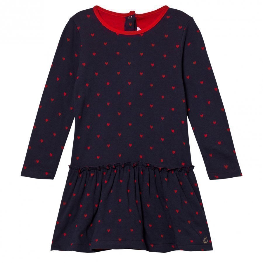 Petit Bateau Marine Ruffle Dress Red Hearts Mekko