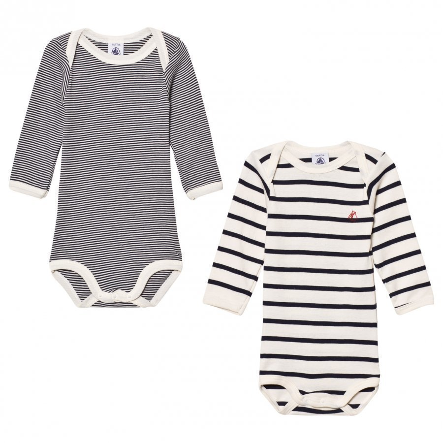 Petit Bateau Marine Stripe Baby Bodies 2 Pack Body