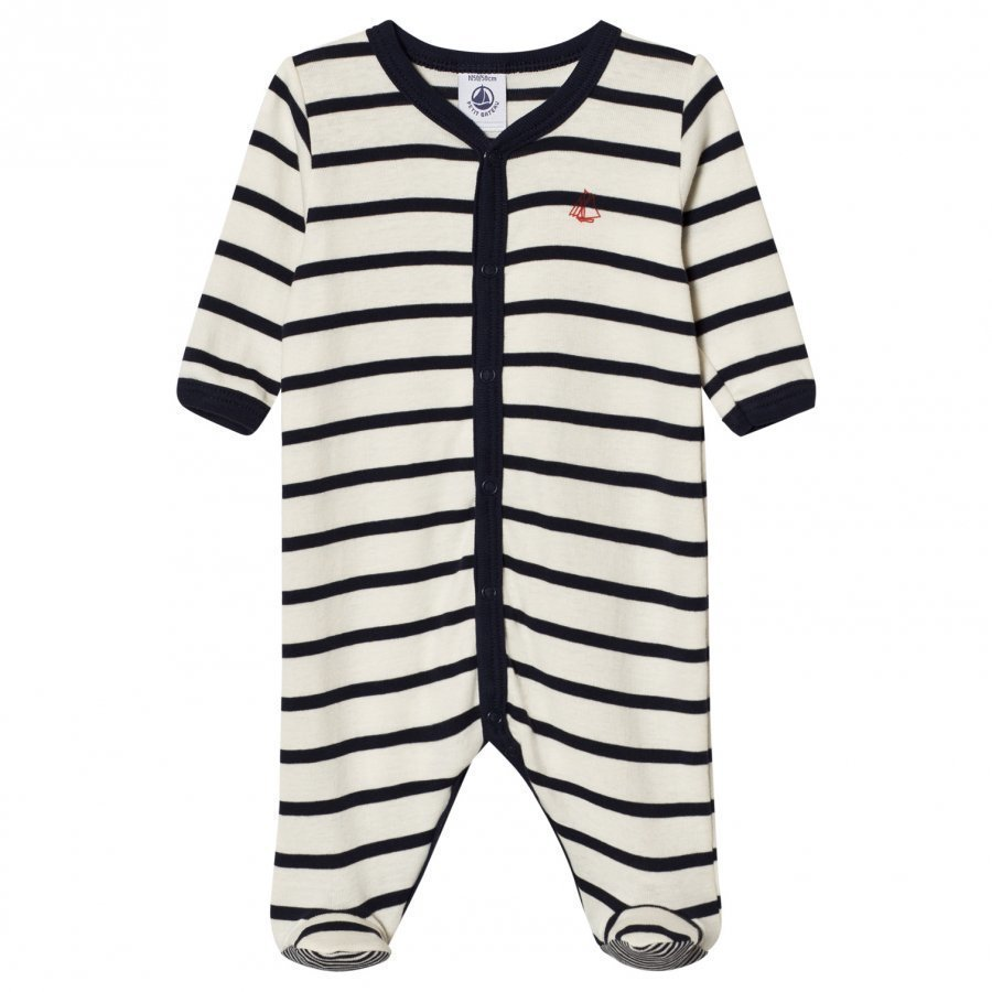 Petit Bateau Marine Stripe Footed Baby Body