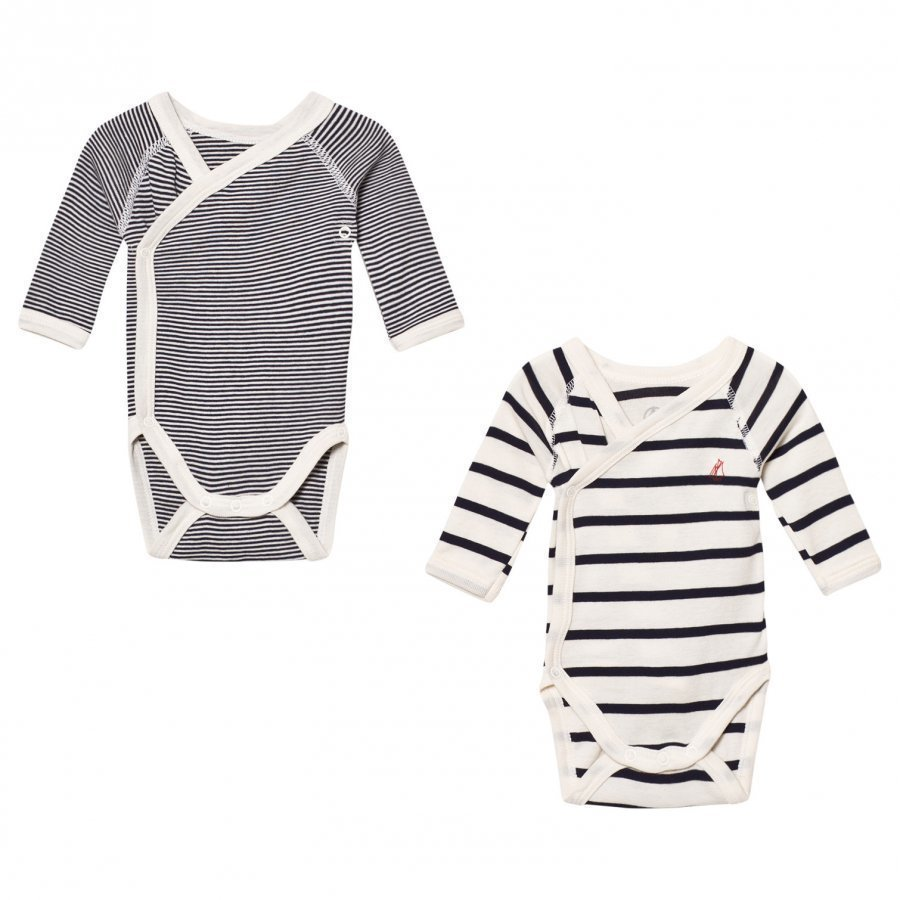 Petit Bateau Marine Stripe Wrap Baby Bodies 2 Pack Body