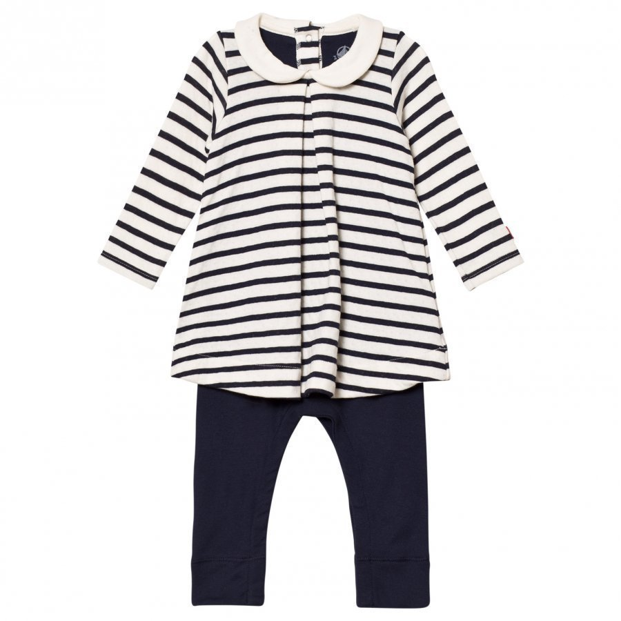 Petit Bateau Marine Striped Mock Dress One-Piece Cream Mekko