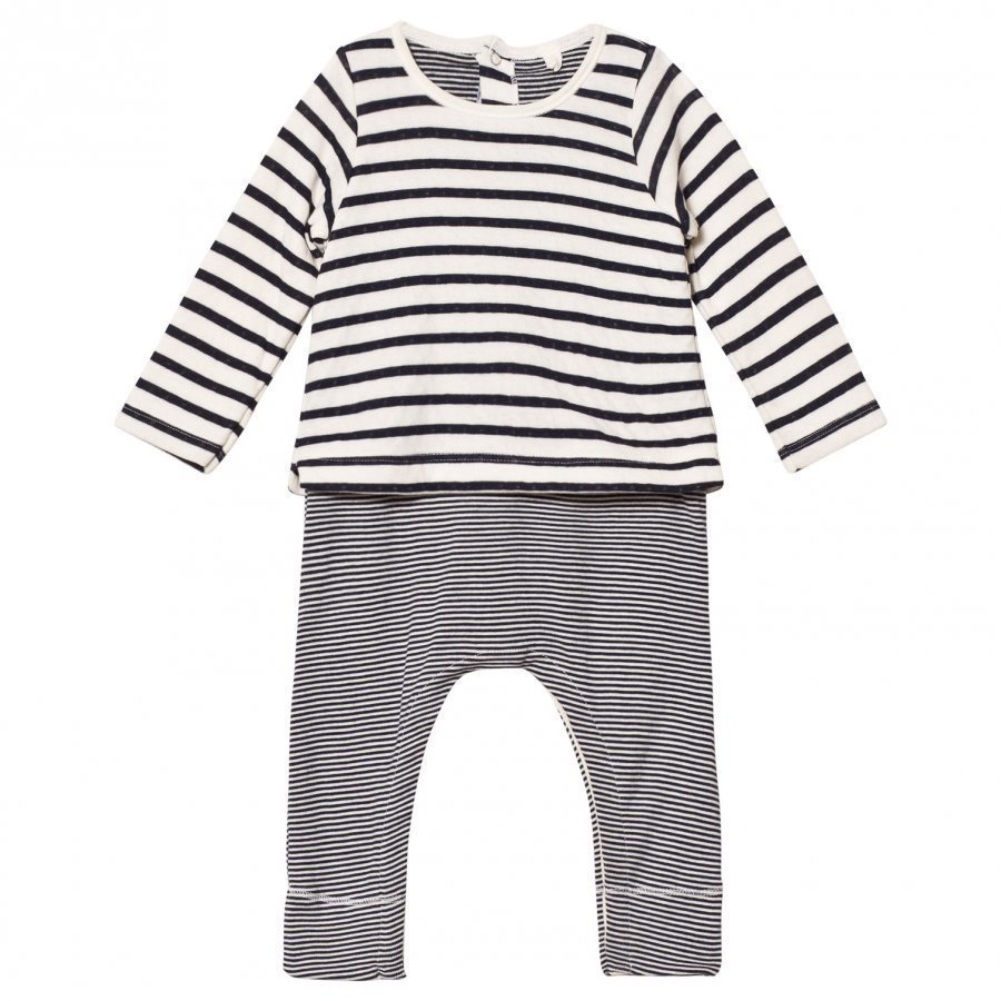 Petit Bateau Marine Striped One-Piece Cream Body