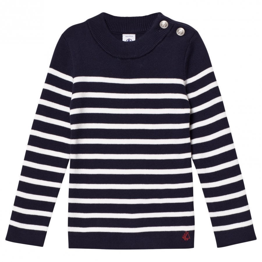 Petit Bateau Marine White Striped Nautical Sweater Neuletakki