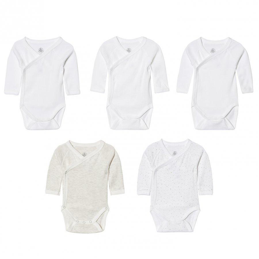 Petit Bateau Multi Pattern White Wrap Bodies 5 Pack Body