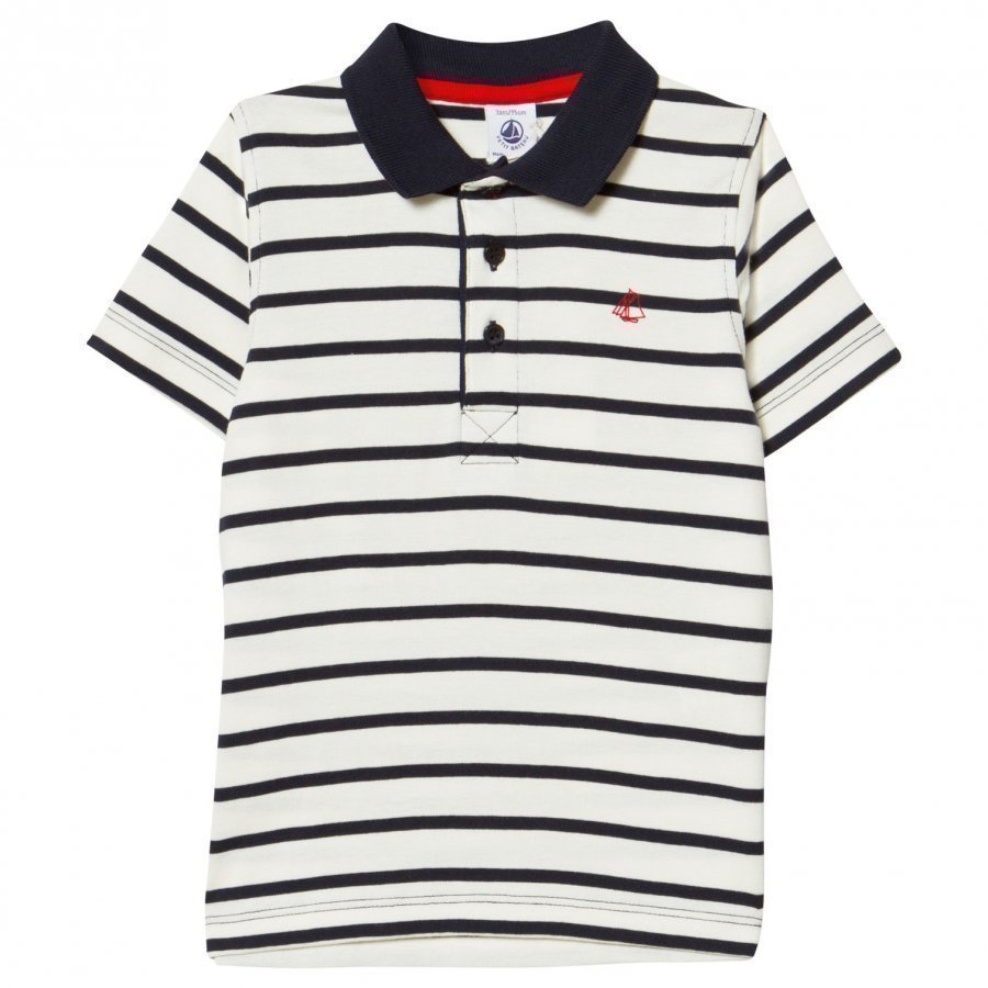 Petit Bateau Navy And White Stripe Polo Pikeepaita