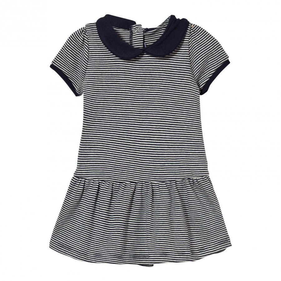 Petit Bateau Navy Stripe Collared Jersey Dress Mekko