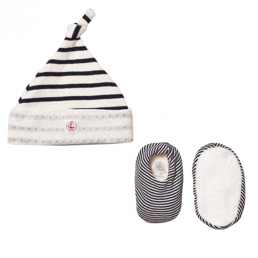Petit Bateau Newborn Hat And Booties Set Creme Marine Stripe Pipo