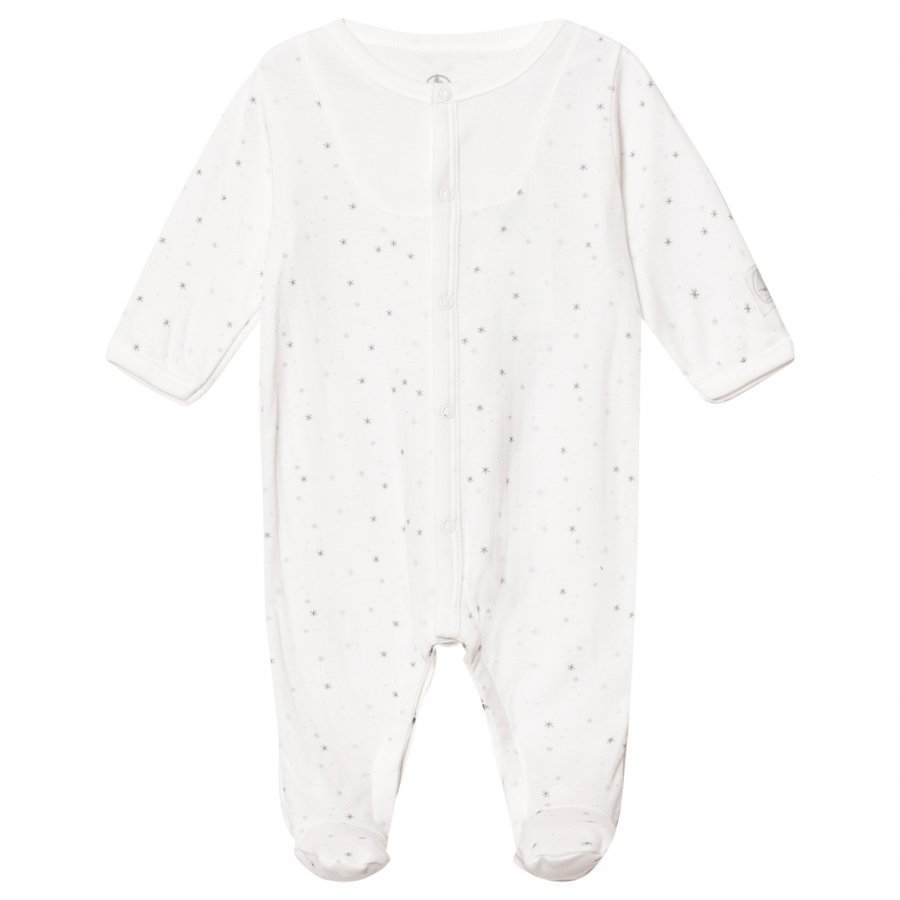 Petit Bateau Off White Snowflake Footed Baby Body