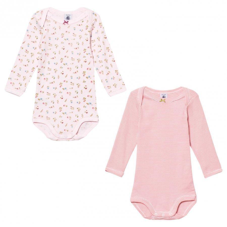 Petit Bateau Pink Pattern Baby Bodies 2 Pack Body