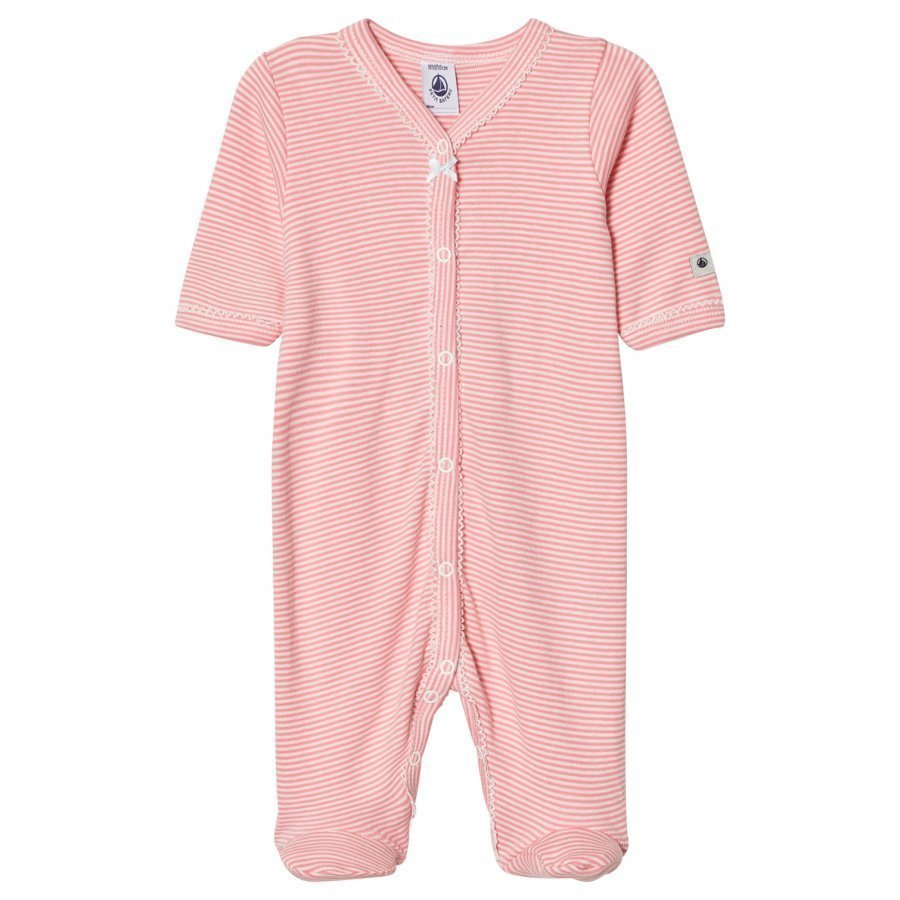 Petit Bateau Pink Stripe Footed Baby Body