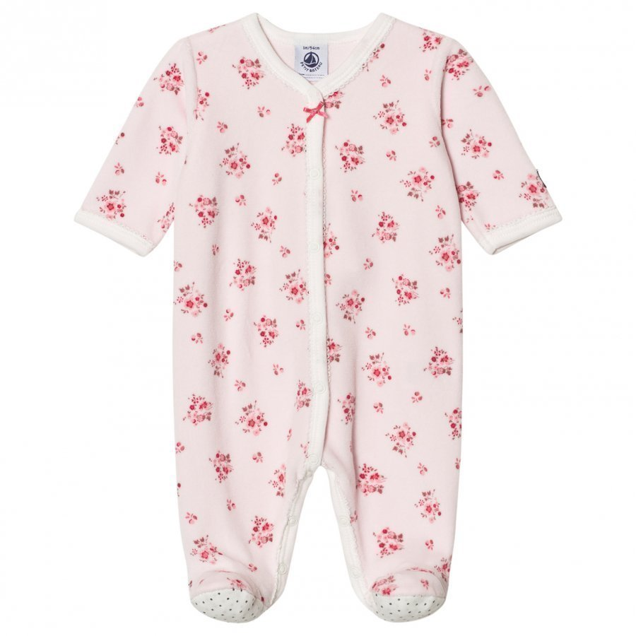 Petit Bateau Pink Velour Footed Baby Body