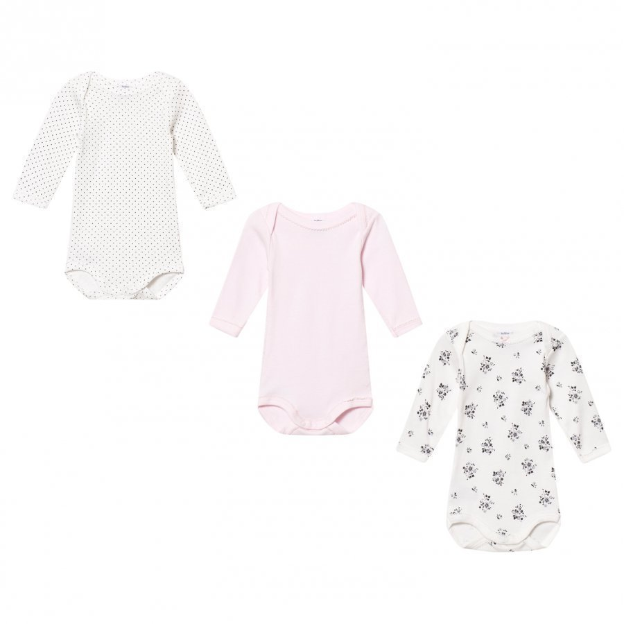 Petit Bateau Pink/White Baby Bodies 3 Pack Body