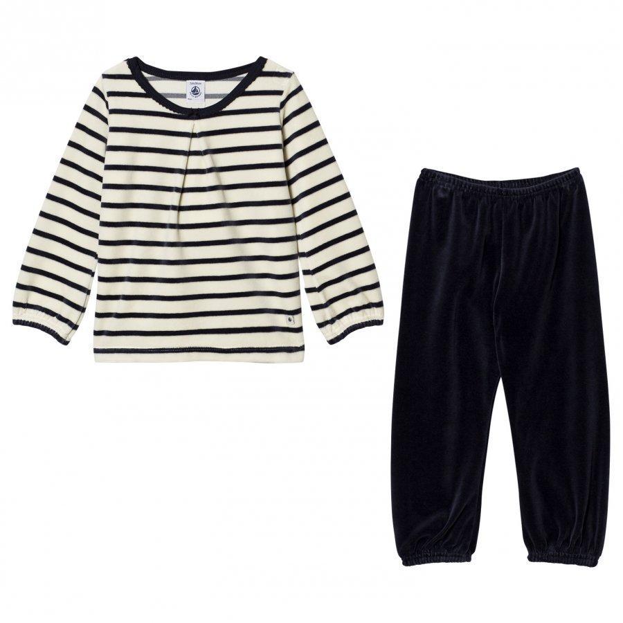 Petit Bateau Pyjama Creme Marine Yöpuku