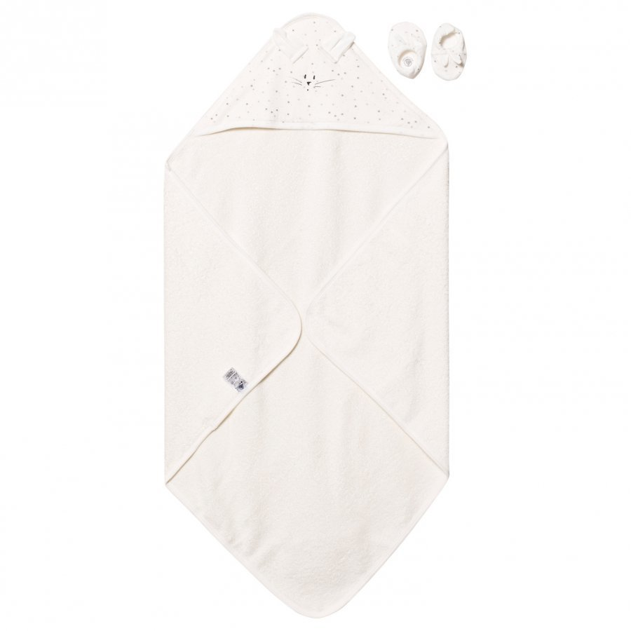 Petit Bateau Rabbit Towel And Slippers Creme Pyyhesetti