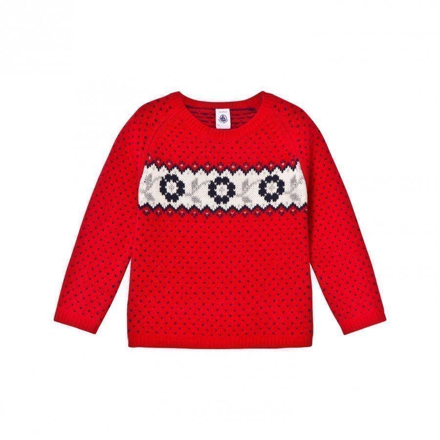 Petit Bateau Red Fairisle Knit Jumper Paita