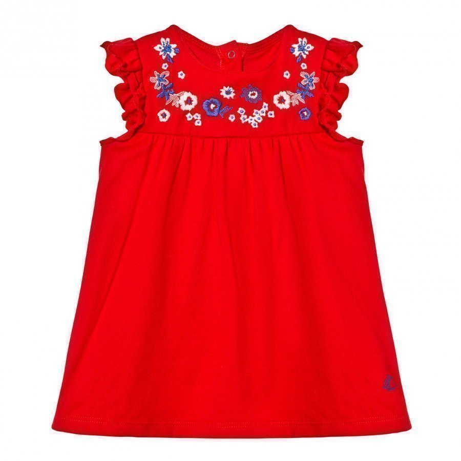 Petit Bateau Red Floral Embroidered Yoke Dress Juhlamekko