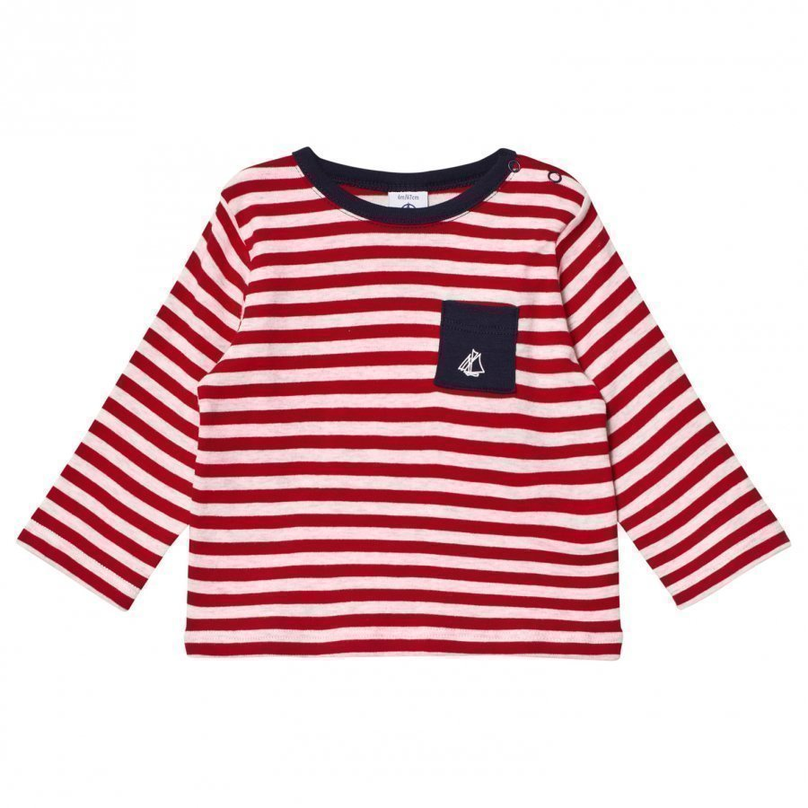 Petit Bateau Red Striped Melange Tee T-Paita